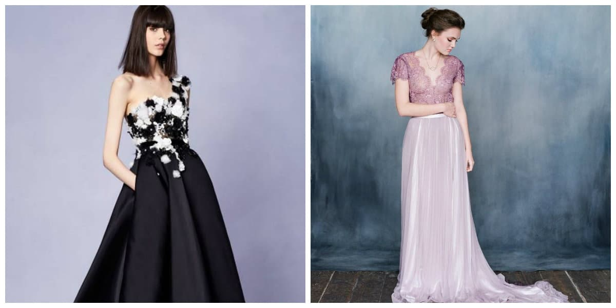 wedding gowns 2019, black wedding gown 2019, lilac wedding gown 2019