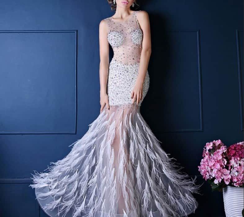 Evening Dresses 2022 with Feathers